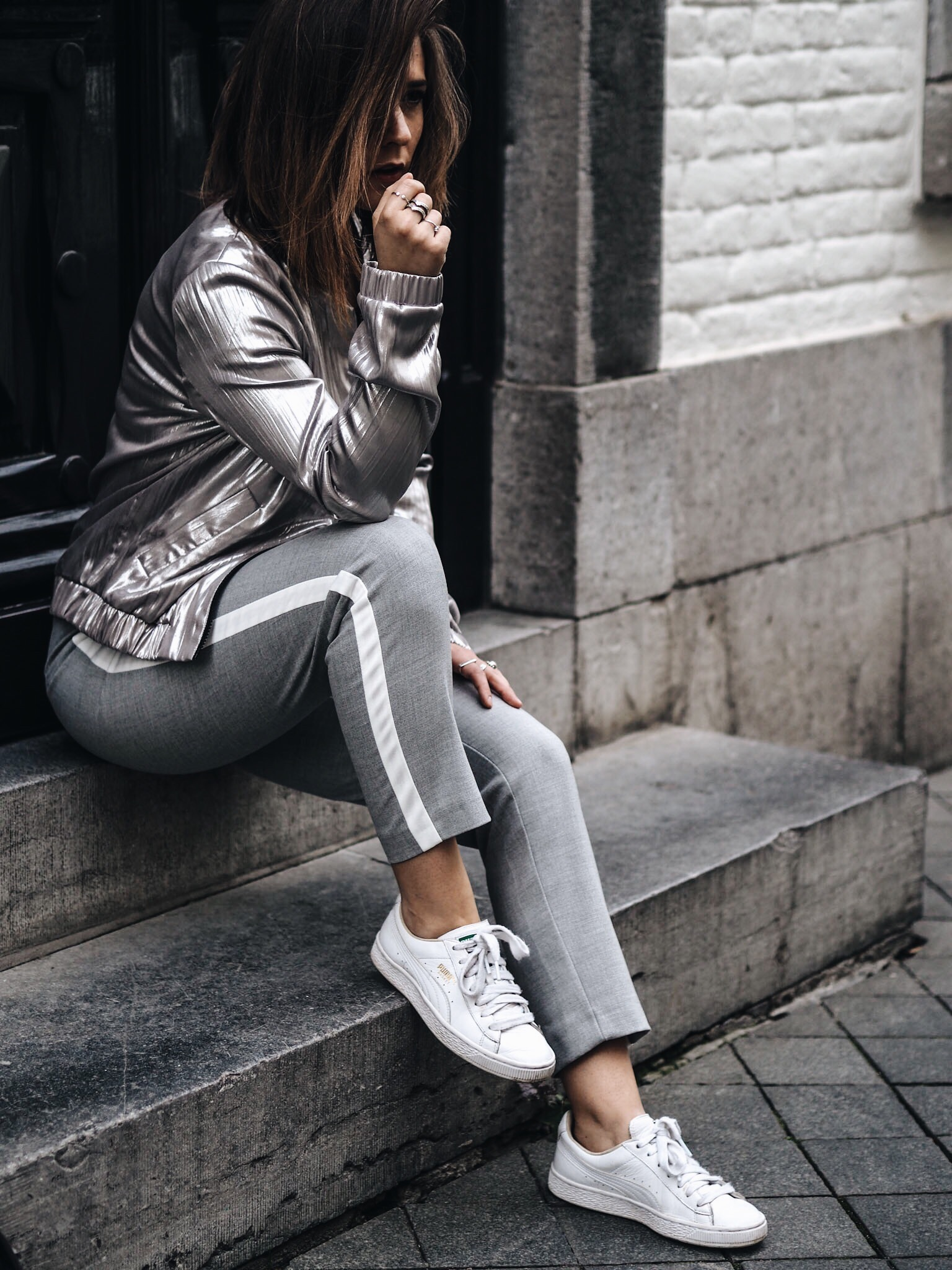 allthtchoices by laura fashionblog mainz frankfurt athleisure puma basket soliver fusion collection silberner blouson
